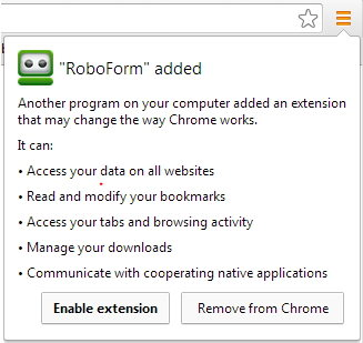 roboform lower toolbar does not show up