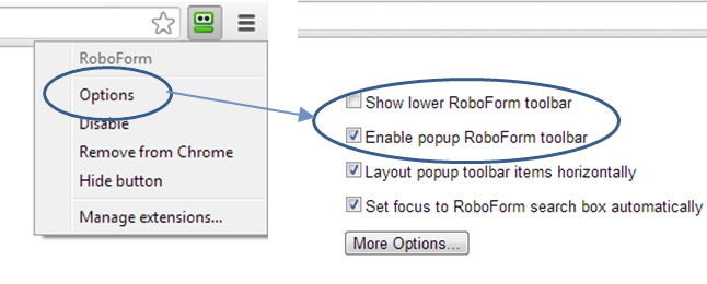 roboform toolbar does not show up in chrome