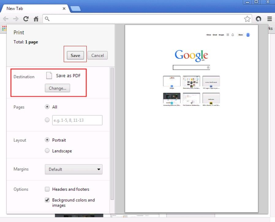 save web page to pdf file in firefox