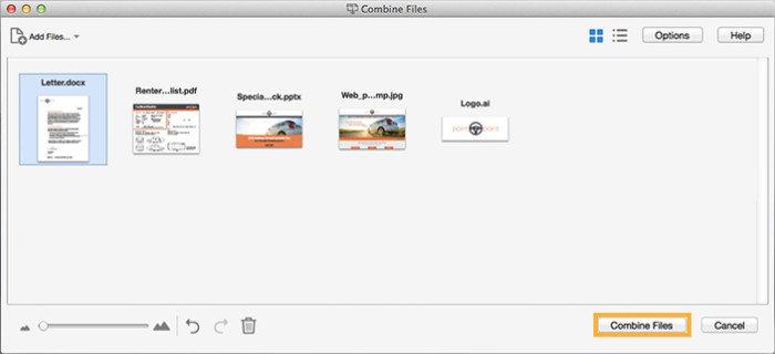 Combine photos in one pdf online