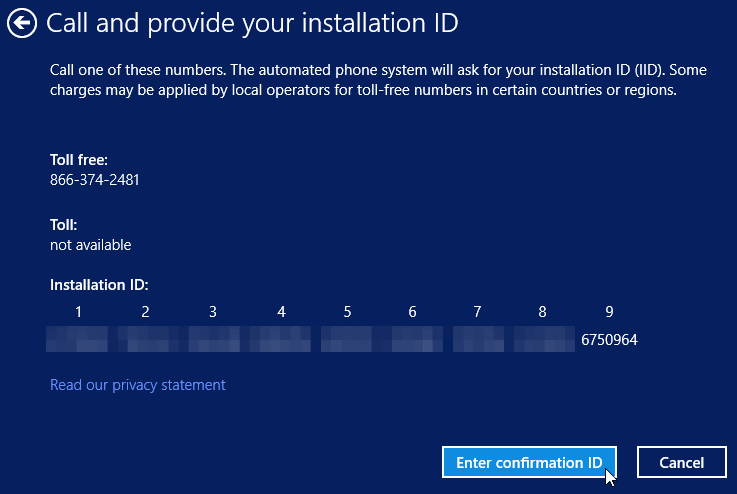 call and provide your installation ID