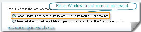 Reset Windows local account password