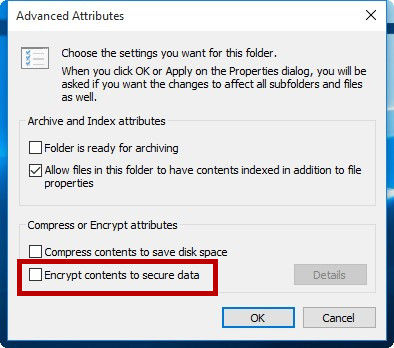 encrypt contents to secure data windows 7