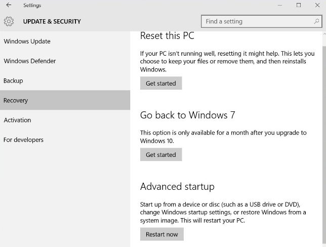 windows 10 factory reset without cd