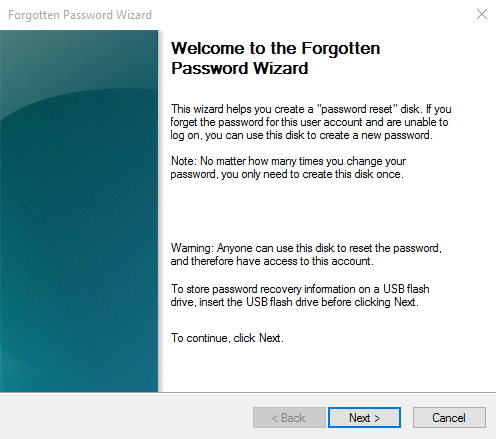 make a windows 10 password recovery disk