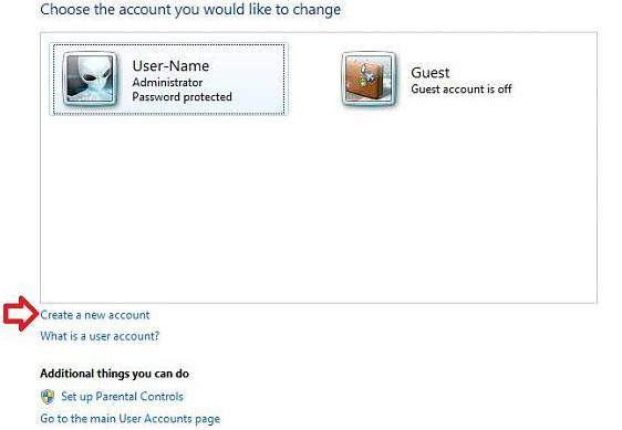 create a user account in windows 7