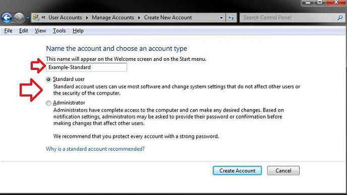 how to set up a user account in windows 7