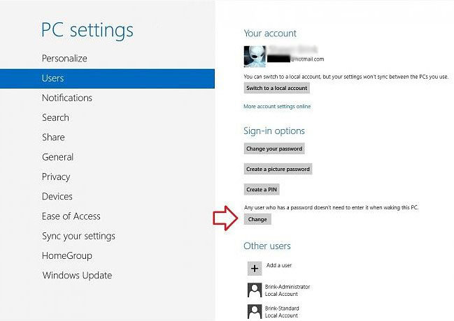 disable require password on wakeup in windows 8
