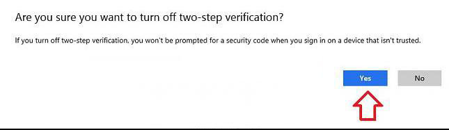 disable two-step verification for microsoft account