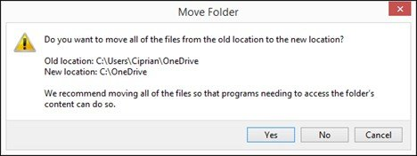 change location of onedrive folder in windows 8.1