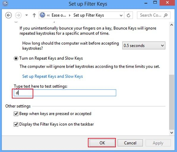how to turn on filter keys in windows 8