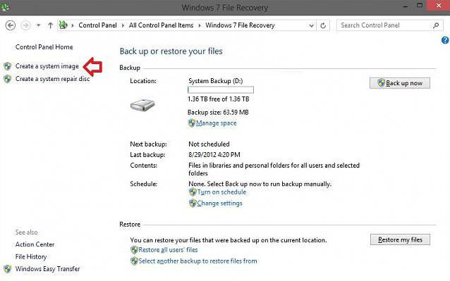 how to use system image backup in windows 8.1