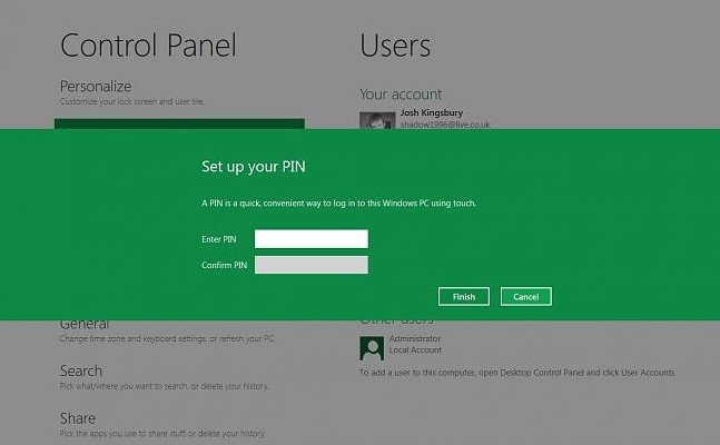 how to create pin in windows 8.1