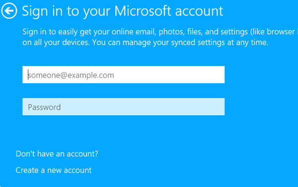 microsoft account and password