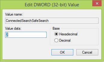how to filter web search results in windows 8.1 using safesearch setting