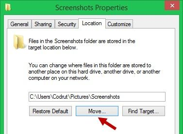 how to change default screenshot folder location in windows 8
