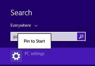 open pc setting from control panel in windows 8.1