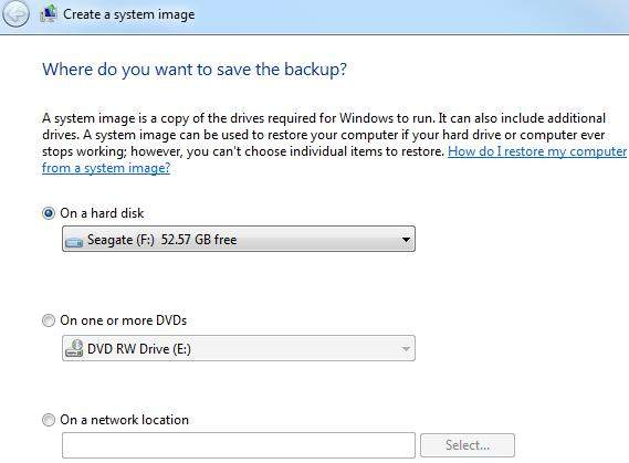 how to create a system image backup in windows