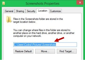 move the default screenshot folder in windows 8.1