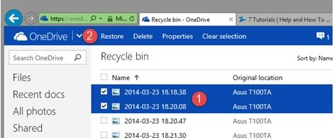 recover deleted files and folder on onedrive