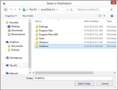 change onedrive folder location in windows 8.1