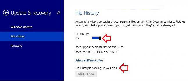 how to turn on file history in windows 8.1