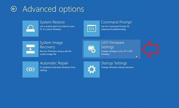 how to access uefi bios setting in windows 8.1