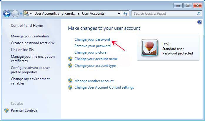 how to change pc login password windows 7
