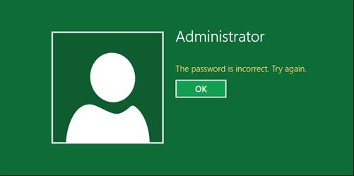 windows 8 password wrong