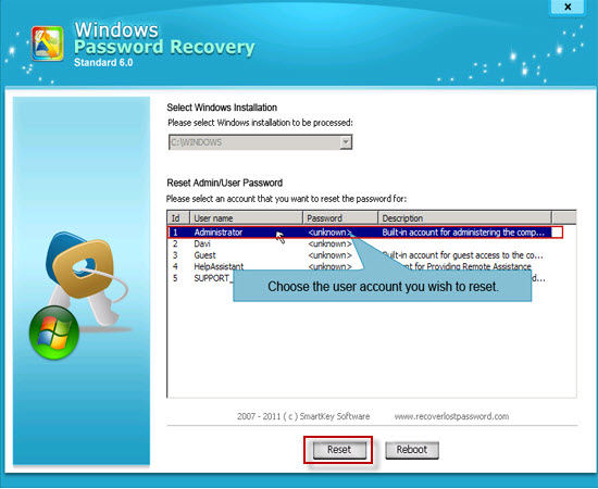 reset windows 7 password