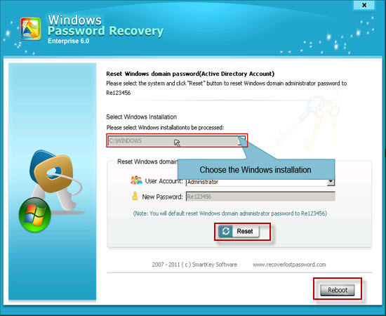 reset windows 2003 password