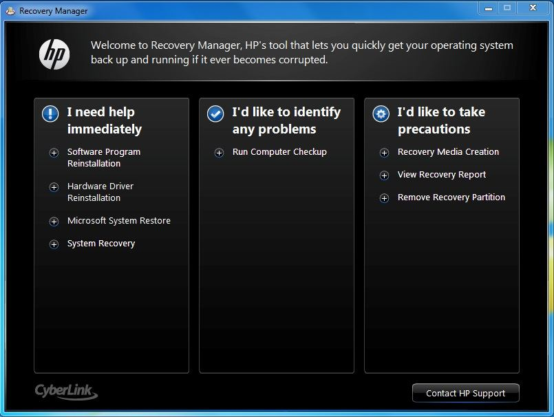 windows recovery manager