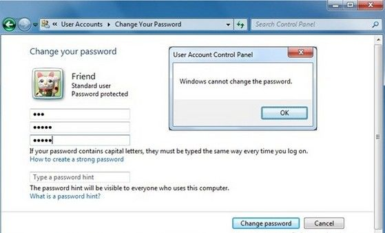 restrict users from changing password in windows