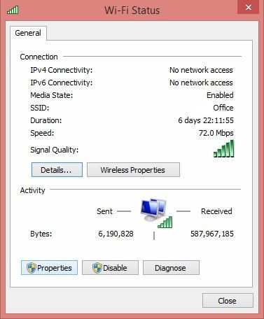 windows 8.1 showing no internet access
