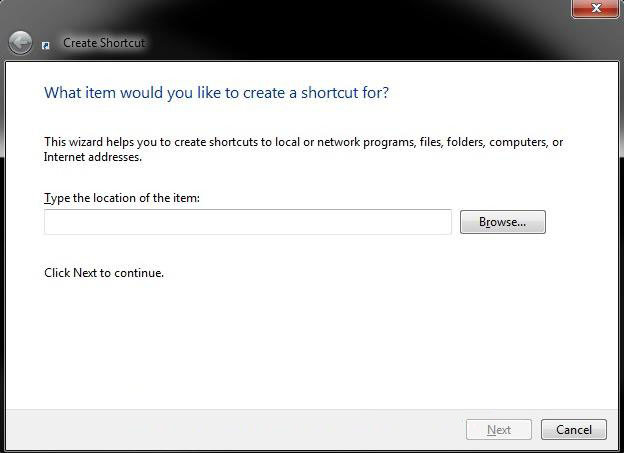 create a shortcut of a file folder drive or program in windows