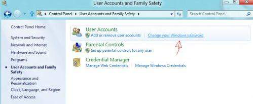 how do I change my login password on Windows 8