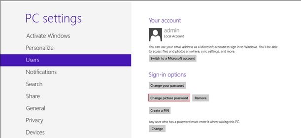 Windows 8 picture password create