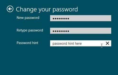 windows 8 change login password