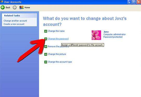 how to change user's password with another account in windows