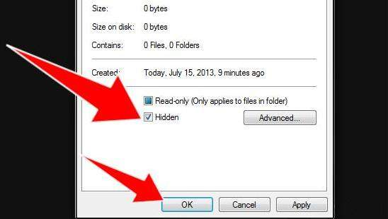 how to hide file folders in windows 7
