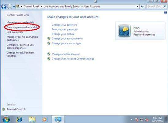 how to create a password in windows 7