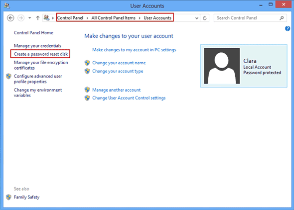 how to create a password reset disk in windows 8.1