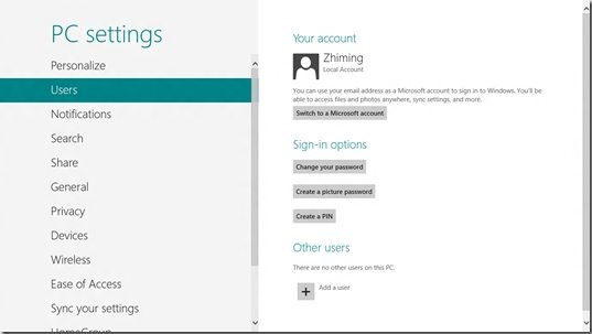 switch to Microsoft account in Windows 8