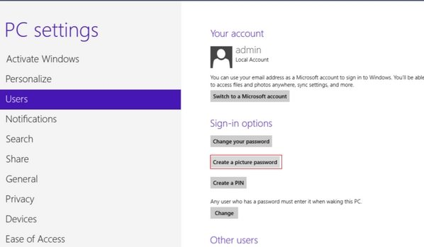 sign up picture password in Windows 8