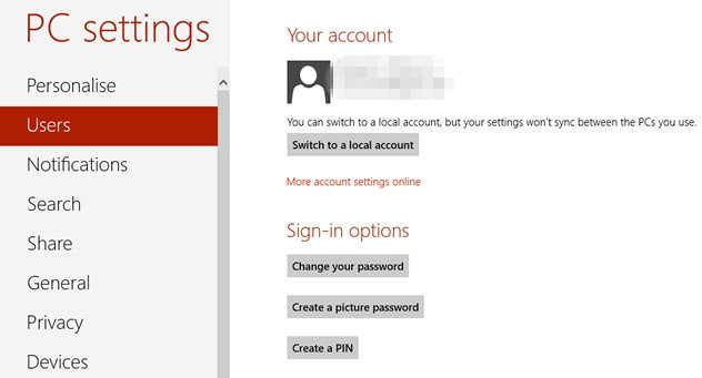 how to set a Windows 8 password