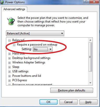 how to disable required password on wakeup in windows 7