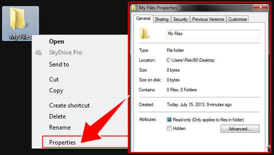 how to hide files and folders in windows 7