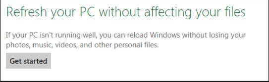how to refresh or reset windows 8