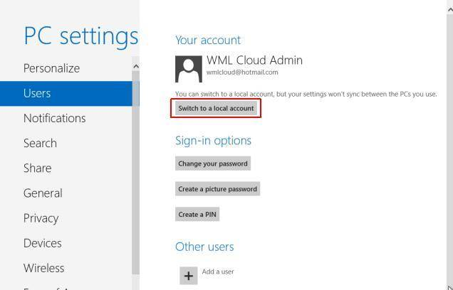 how to switch to local user account in windows 8